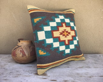 Western Pillow Ranch Decor 18 x 18 Woven Wool Gray Turquoise Beige Color Southwestern Decor