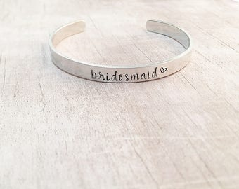 Wedding Party Gifts from Bride - Personalized Bridesmaid Gifts - Stamped Cuff Bracelet - Bridesmaid Cuff Bracelet