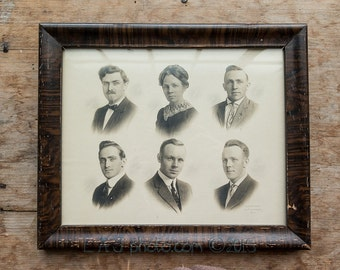 vintage photograph 6 portraits framed Iowa college professors  early 20th century Estherville Iowa Erickson photography