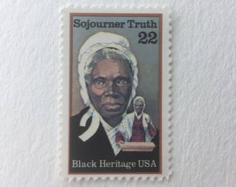10 Sojourner Truth 22c US postage stamps unused - 1986 Vintage - Women's Rights African American figures Black History Heritage Month