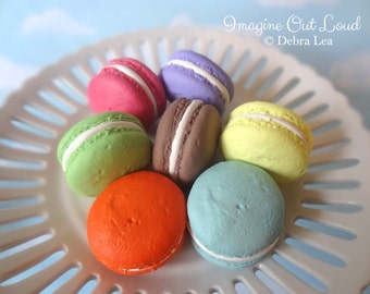 FAUX MACARON SEVEN Bright Flavors Set Fake Macarons Macaroon Cookies Food Prop Photo Kitchen Decor Display Fake Food
