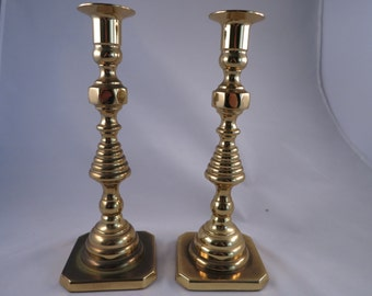 "Vintage Solid Brass Baldwin Candlesticks  10"" Brass Candle Holders Home Decor Gift for Home"