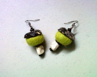 Chartreuse Green, Black and White Ethnic Inspired Earrings (1276)