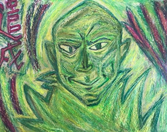 A Banishment Of Malevolence, 28x22cm Original painting in chalk pastels, one of a kind