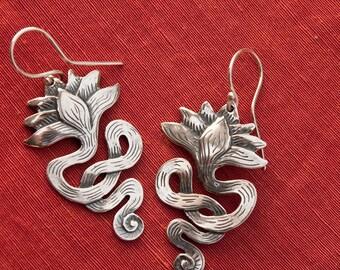 Lotus Earrings/ long - sterling silver drop earrings