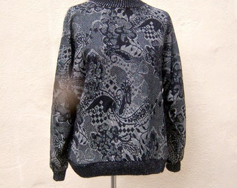 90s sweater / black metallic SILVER pullover / light weight, batwing sleeves / womens medium
