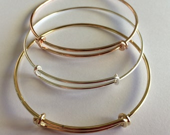 Expandable Charm Holder Bangle Bracelet - Choose Your Color - Charm Bracelet - add your own charms ready made quick ship