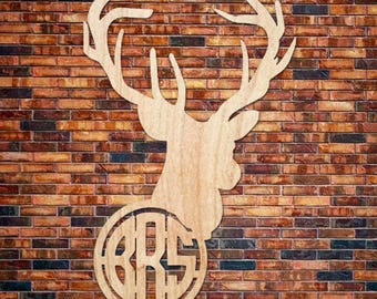 Monogrammed Wooden Deer Antler Head