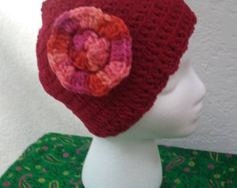 hand crocheted beanie, winter cap.