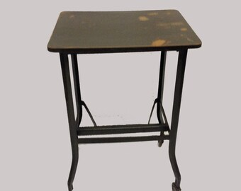 Vintage Industrial Wood topped Rolling Table Office Cart