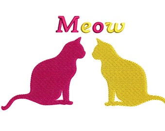 Embroidery Designs Cats Facing Cats Meow Cats