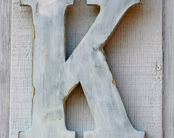 """2 Feet Rustic Wooden Letter K Distressed Painted White, 24"""" tall Decor Cottage Wall Letter Decoration wedding guest book"""