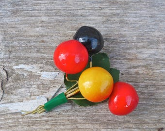 Vintage  1970/1980s French millinery cherrys brooch /corsage