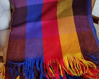 """Vintage Faribo Fluff Loomed Wool Fringe Throw, Primary Color Woven Wool Blanket, Wool Stadium Throw, 60x64"""" USA Made"""