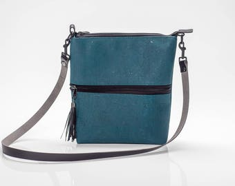 Colorful Teal Midsize Crossbody Bag