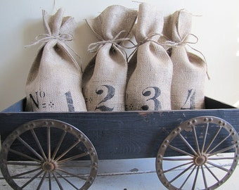 French Numbered Burlap Gift Bags