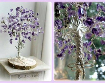 Amethyst gemstone  February birthstone butterfly wirework Healing  Rainbow Tree wood base wirework