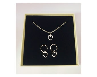 Sterling silver open heart hoop earrings and necklace set