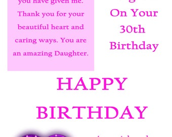 Daughter 30 Birthday with removable laminate
