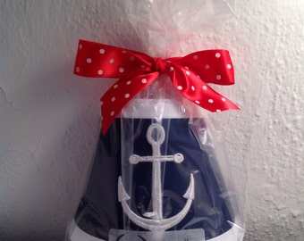Nautical Anchor Night Light Navy Blue Fabric (Trim and Anchor Color of your Choice)