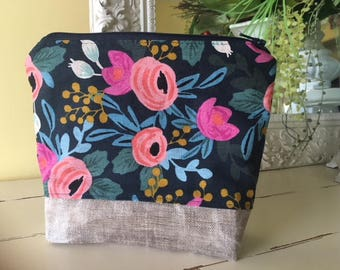 Zippered Pouch Rifle Paper Co. Fabric  Waxed Linen Canvas Base  Gadget Cosmetic Bag Phone Purse organizer