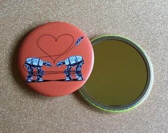 2.25 Inch AT-AT Love Mirror - Orange, Star Wars Mirror, Star Wars Gift, Star Wars Party, Pocket Mirror, Compact Mirror, Hand Mirror