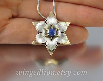 STAR OF DAVID 14k gold & silver Daffodil pendant with Blue Sapphire - Ready to ship