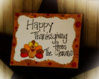 Happy Thanksgiving Personalized Door Welcome Sign Family Name Turkey