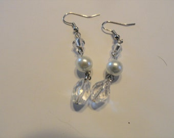 White Pearl and Clear bead earrings