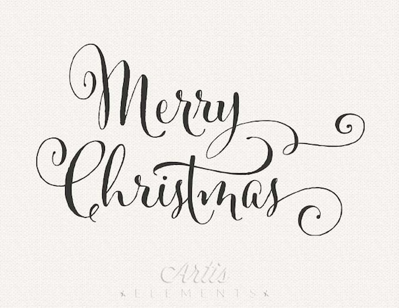 Merry christmas handwriting script with flourishes