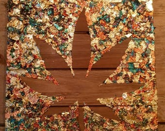 Metallic Pot Leaf Silhouette