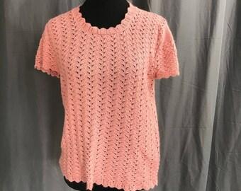 Vintage Blush Pink Pointelle Sweater M