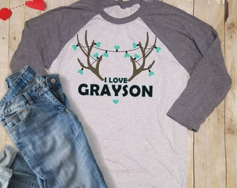 Personalized I love Valentine Antler Raglan Tee - Country Mama!