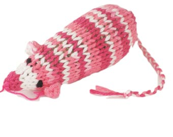 Catnip Mouse Cat Toy in Shades of Pink