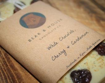 Chocolate Bar - Handmade White Chocolate, Cherry & Cardamom Bar