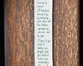 Musical quote cross stitch bookmark