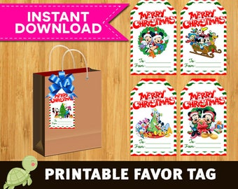 16 Mickey Mouse christmas Thank you or Favor tags, instant download - JPG