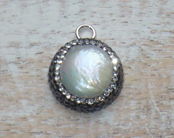 Micro Pave Cz and Freshwater Pearl Gemstone in Sterling Silver Charm, Pearl Charm, Pave Charm