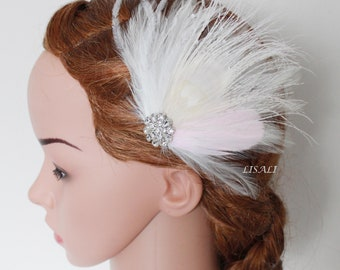 LISALI  Feather Fascinator, Wedding Feather Fascinator, Bridal Feather Headpiece, 20's Great Gatsby Wedding Feather Hairpiece in White Pink