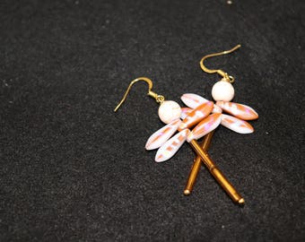 White Stone-Faced Dragonfly Earrings
