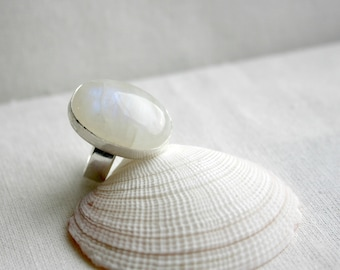 Moonstone Chunky Silver Ring, Statement Ring