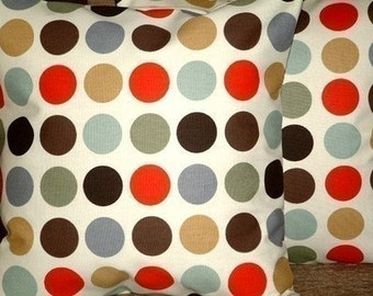 Two 18 inch Cinnamon Red Brown Black Grey Green Cream Spots Print Design Funky Contemporary Designer Cushion Covers,Pillow Covers,NEW FABRIC