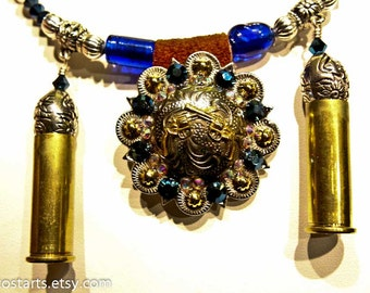 Guns Bullet Jewelry Cowboy Boot Jewelry Necklace Swarovski Crystals Upcycled Bullet Shell Western Style Gift For Her Handmade Sharp Shooters