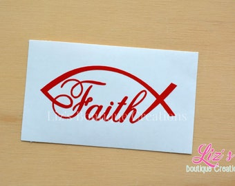 Faith fish decal, religious decal, religious sticker, spiritual decal, Faith sticker