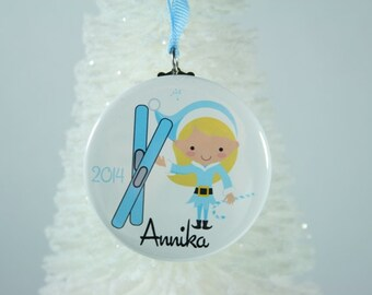 Christmas Ornaments, Personalized Ski Christmas Ornament, Personalized Ornament, Girls Ornament, Christmas Ornaments