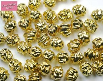 25x Gold Beads Knot Twist Lightweight  Vintage 10mm Accent Beads