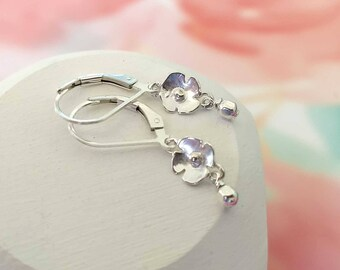 Silver Dangle Earrings Small Sterling Silver Drop Earrings Mother's Day Everyday Dainty Flower Leverback Lever Latch Closure Birthday Gift