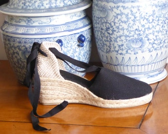 Lace Up Espadrille WEDGES (7cm-2.76i) - BLACK - Made In Spain - www.mumico.es