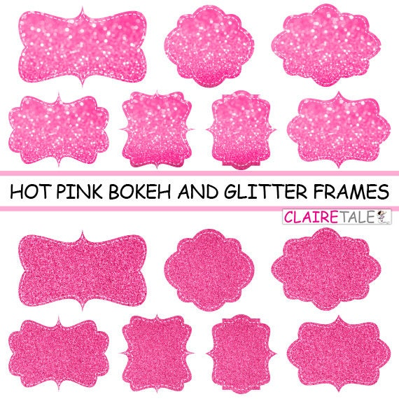 "Digital clipart labels: ""Hot PINK  BOKEH & GLITTER frames"" bokeh and glitter clipart frames, labels, tags on hot pink background"