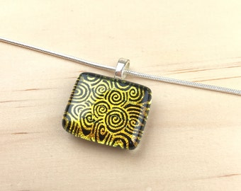 Pendant Necklace, Gold and Black Spiral Pattern, Dichroic Glass